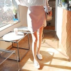 Cherryville - Zip-Front Asymmetric Mini Skirt