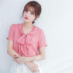 Tokyo Fashion - Ruffle Tie-Neck Chiffon Short-Sleeve Shirt