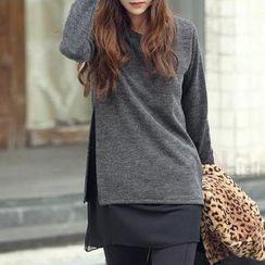 Fashion Street - Long-Sleeve Mesh Panel Blouse