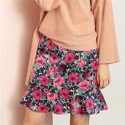 MAGJAY - Ruffled-Hem Floral-Pattern Skirt