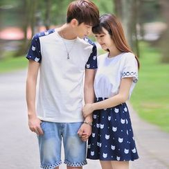 Igsoo - Couple Matching Panel Short-Sleeve T-shirt / Short-Sleeve Dress