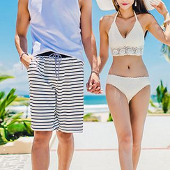Sewwi - Couple Matching Crochet Bikini / Striped Swim Shorts