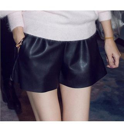 Little Flower - Elastic Waist Faux Leather Shorts