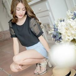 Tokyo Fashion - Tulle-Sleeve Bowed Top