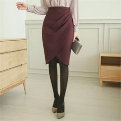ode' - Shirred Side Pencil Skirt