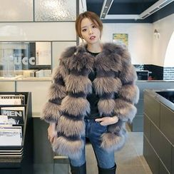 DABAGIRL - Tiered Faux-Fur Jacket