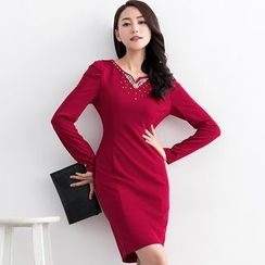 Eleganza - Embellished Long Sleeve Sheath Dress