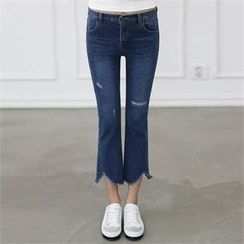 CHICFOX - Distressed Boot-Cut Jeans