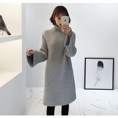 Miamasvin - Mock-Neck Bell-Sleeve Rib-Knit Dress