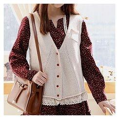 Sechuna - V-Neck Buttoned Knit Vest