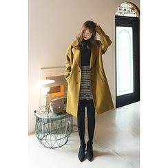CHERRYKOKO - Notched-Lapel Buttoned Wool Blend Coat
