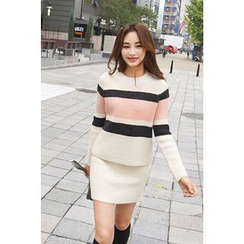Bongjashop - Set: Crew-Neck Color-Block Sweater + Knit Skirt