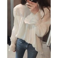 maybe-baby - Mock-Neck Frilled-Trim Top