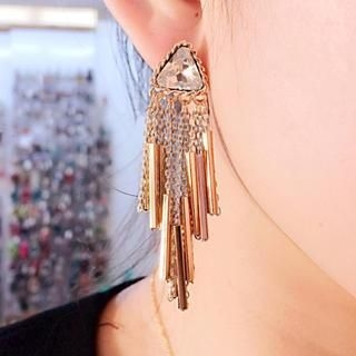 Supermary - Fringed Jeweled Earrings