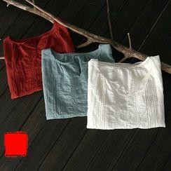 Rosadame - 短袖小开领衬衫