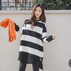 JUSTONE - Dip-Back Stripe Pullover Dress