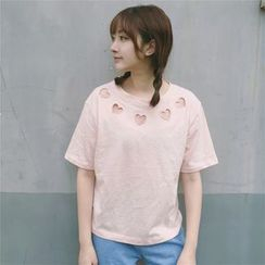 Cattie - Heart Cutout Short-Sleeve T-Shirt