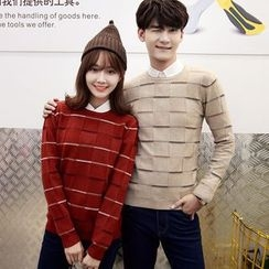 Je T'aime - Couple Matching Check Knit Top