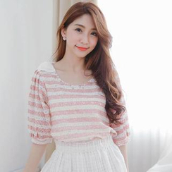 Tokyo Fashion - Elbow-Sleeve Beaded Striped Lace Top