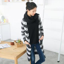 59 Seconds - Striped Mélange Long Cardigan