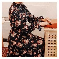 Cherryville - Smocked-Neck Floral Print A-Line Dress