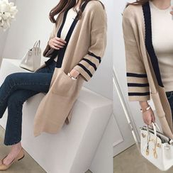 DAILY LOOK - Open-Front Contrast-Trim Cardigan