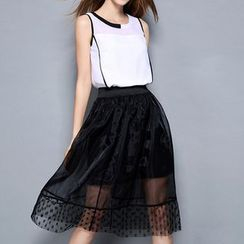 Merald - Set: Sleeveless Top + Mesh Midi Skirt