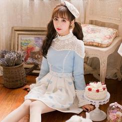糖果雨 - 蕾丝拼接心心印花长袖连衣裙