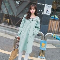 7th Mansion - Plain Hooded Long Jacket
