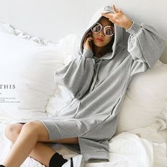 NANING9 - Puff-Sleeve Hooded Pullover Dress