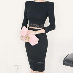 DABAGIRL - Set: Lace-Hem Cropped Top + Lace-Trim Pencil Skirt