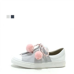 MODELSIS - Genuine Leather Pompom-Detail Slip-Ons