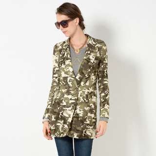 YesStyle Z - Camouflage Single Button Long Blazer