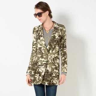 YesStyle Z - Camouflage Single Button Long Blazer