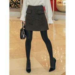 LOLOten - Flap-Pocket Mini A-Line Skirt