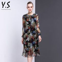 Y:Q - Floral Print Long-Sleeve Midi Dress