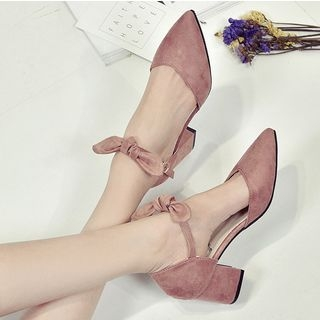 Shoeland - Bow Accent Pointed Chunky Heel Sandals