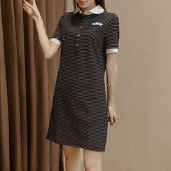 Fashion Street - Short-Sleeve Striped Polo Dress