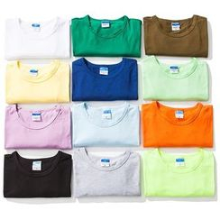 Chuoku - Couple Plain Round-NecK Short-Sleeve T-Shirt