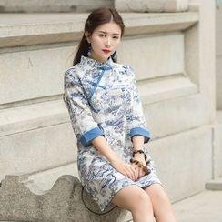 Ebbie - 印花七分袖旗袍