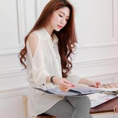 Tokyo Fashion - Cutaway-Shoulder Gathered-Waist Chiffon Shirt