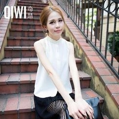 QIWI - Mandarin-Collar Tulle-Panel Sleeveless Blouse