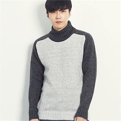 MITOSHOP - Turtle-Neck Color-Block Wool Blend Knit Top