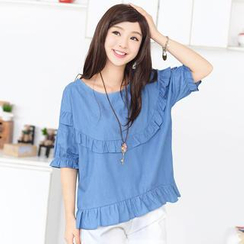 59 Seconds - Elbow-Sleeve Ruffle Top