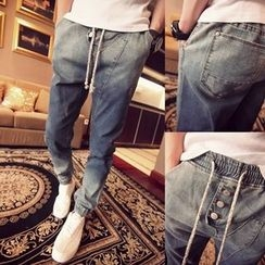Troopers - Drawstring Washed Slim-Fit Jeans
