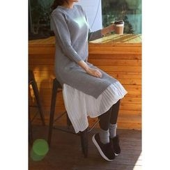 migunstyle - Round-Neck Ruffle-Hem Knit Dress