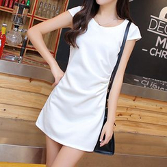 Swish - Paneled Cap Sleeve Shift Dress