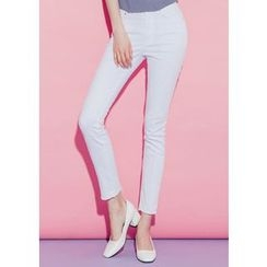 Chlo.D.Manon - Fray-Hem Colored Slim-Fit Pants