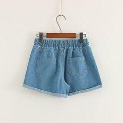 Mushi - Elastic Waist Denim Shorts