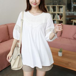 CLICK - Puff-Sleeve Lace-Trim Top